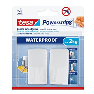 Tesa 59701-00002-00 plástico Waterproof Blanco Rectangular, 2 Ganchos + 4 Tiras + toallitas