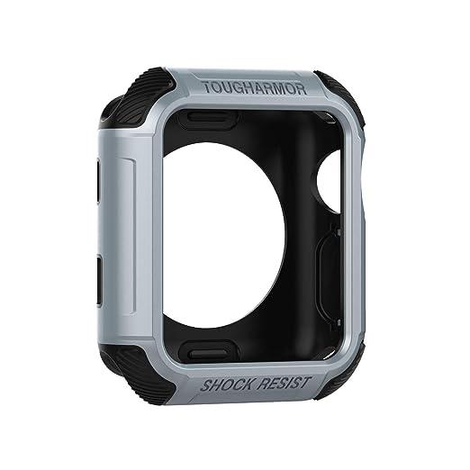 ... Funda Protectora Resistente con Bandas de Correa de Bucle con Protector Pantalla para Apple Watch Serie 4 (42mm, Plateado): Amazon.es: Relojes