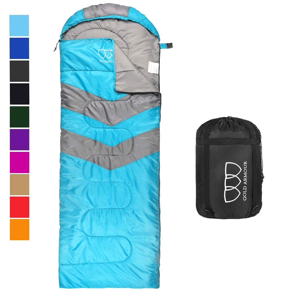 Sleeping Bag - Sleeping Bag for Indoor & Outdoor Use - Great for Kids, Boys, Girls, Teens & Adults. Ultralight and Compact Bags for Sleepover, Backpacking & Camping (Sky Blue / Gray - Left Zipper) by Gold Armour