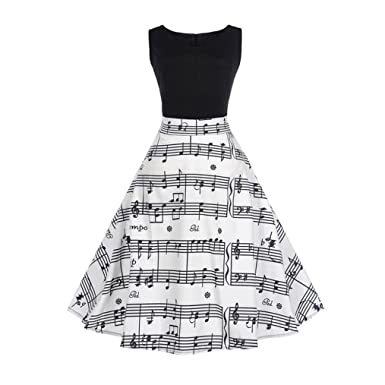 Leewos Hot Sale! Prom Dress, Women Evening Party Music Note Printed Sleeveless Vintage Swing