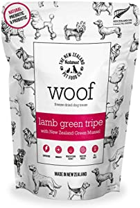 The New Zealand Natural Pet Food Co. WOOF Lamb Green Tripe Freeze Dried Raw Dog Treats with Added New Zealand Green Mussel - High Protein, Natural, Limited Ingredient Topper or Treat 1.76 oz