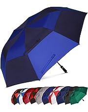 Eono Essentials - Parapluie de Golf Portable à Double voilure et Ouverture Automatique, Protection Contre Le Vent, Grand Format, 62 inch