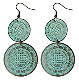 Clearance SALE - Earrings for Women / Girls - Rustic Brass & Large Round Discs - Fashion Jewelry