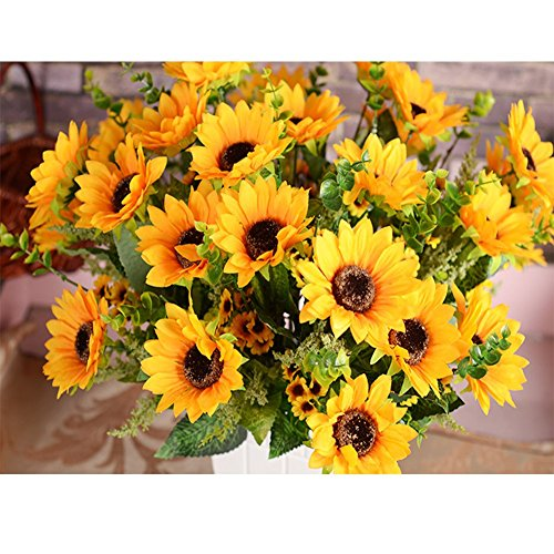 Artificial Flowers,Sunflowers Bouquet For Home Decoration/Wedding Decor 2  Bunches Of Flowers Per Pack, 12 Flowers Per Bunch