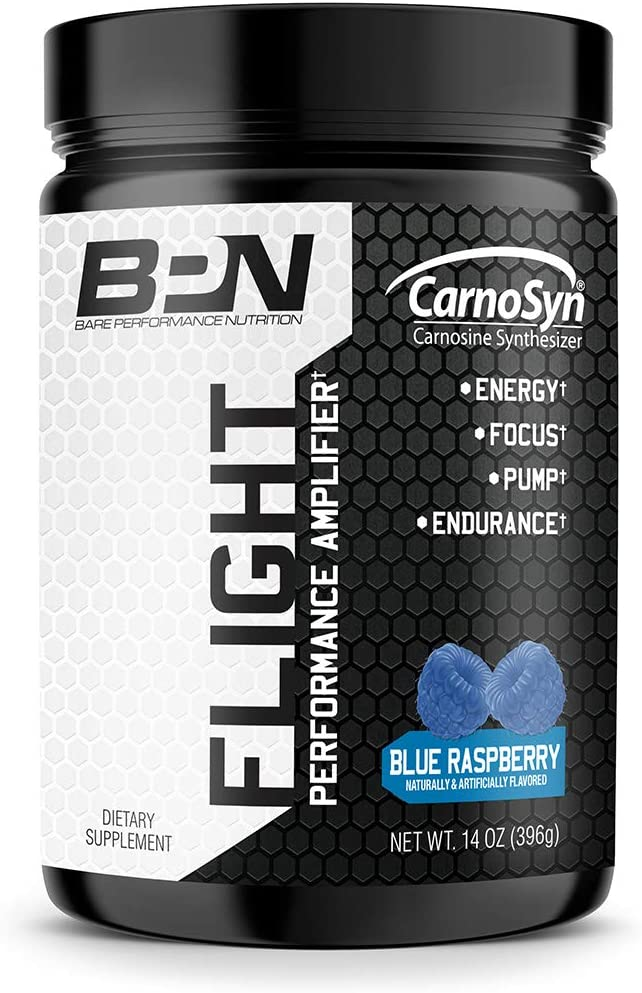 Bare Performance Nutrition, Flight Pre Workout, Energy, Focus & Endurance, Formulated with Caffeine Anhydrous, DiCaffeine Malate, N-Acetyl Tyrosine (30 Servings, Blue Raspberry): Health & Personal Care