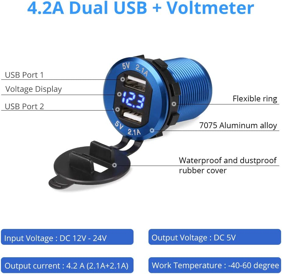 WATERWICH 5V 4.2A Dual USB Car Charger Aluminum Metal Marine Car Charger Adapter Socket Fast Charging with12-24V LED Voltmeter for iPhone Samsung All 5V USB Device RV Yacht SUV Motorcycle Boat Blue