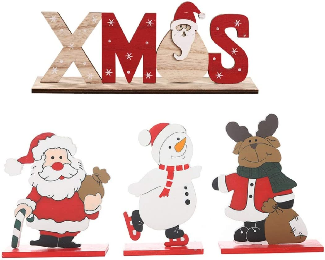 4pcs Christmas Table Decorations Wooden Santa Reindeer Snowman XMAS Happy Holidays Centerpiece for Home Office Party