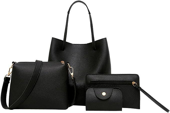 Amazon.com: 4 bolsas para mujeres, bolso de piel + bolso ...