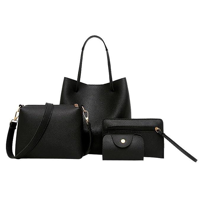 dd77cdcf2dabd VECDY Damen Handtaschen Schultertasche Geldbörse Kartenhalter Tasche 4  stück Frauen Muster Leder Handtasche + umhängetasche +