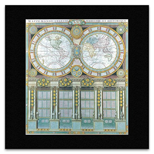 (Stick It On Your Wall ANTIQUE MAPS - 1786 Double Hemisphere Map Mini Poster - 27.8x25.5cm)