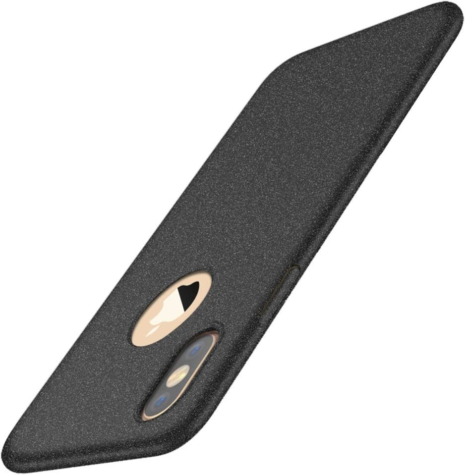 Design-of-Logo-Cutout-Hard-Shell-Thinest-for-iPhone-X/XS,Stylish Comfort Phone case Full Protection for iPhone Xs MAX/XR. (Black, iPhone Xs MAX)