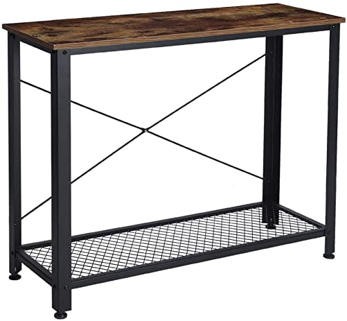 Industrial Console Table, Vintage Rustic Entryway Table Metal Frame Sofa Table for Entryway, Living Room, Rustic Brown, 40×13.8×31.5inch