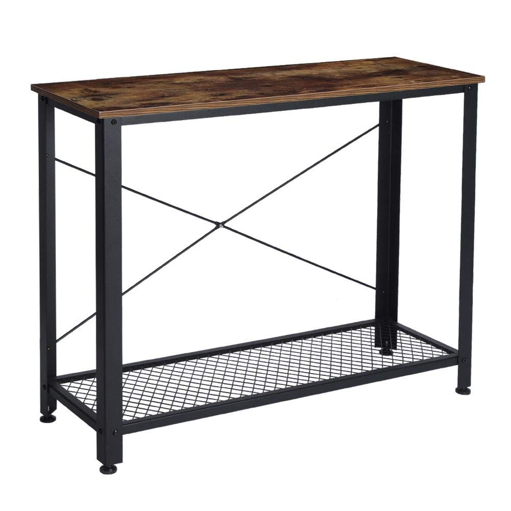 EBTOOLS 2 Tiers Side Table Vintage Console Display Table Entryway Table with Storage Mesh Shelf Fixed Rod Metal Frame for Home Hallway, Living Room and Bedroom by EBTOOLS