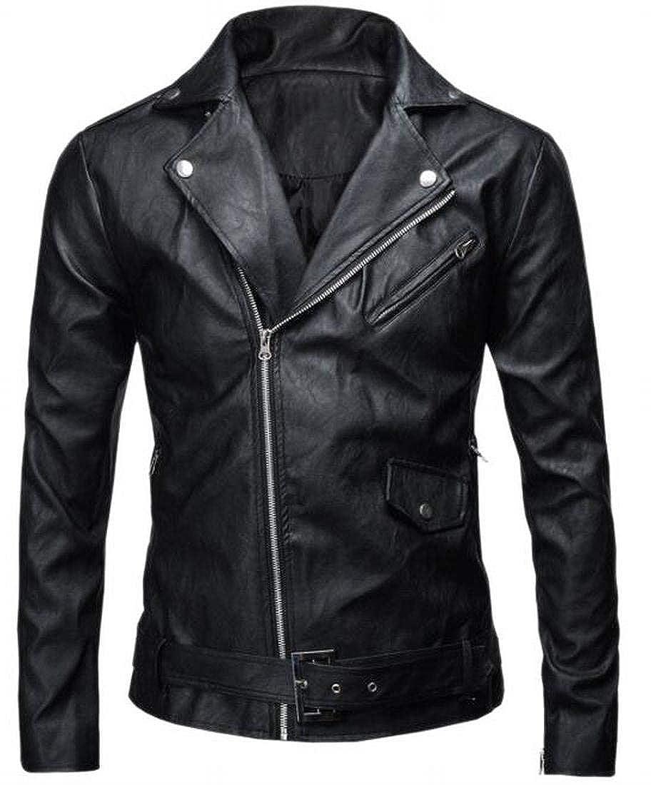 Jaycargogo Mens Lapel Faux Leather Zip Slim Motorcycle Biker Coat Jacket 5 XXS