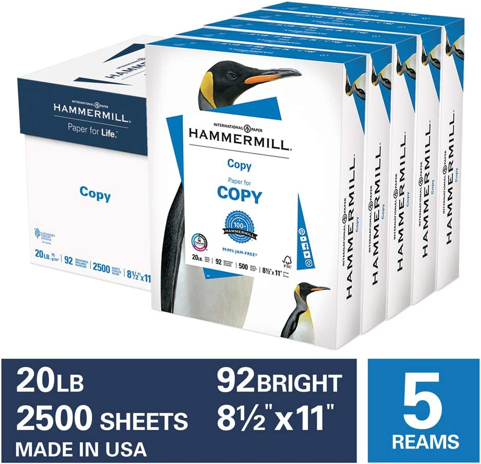 Hammermill 20lb Copy Paper, 8.5 x 11, 5 Ream Case, 2500 Sheets, Made in USA, Sustainably Sourced From American Family Tree Farms, 92 Bright, Acid Free, Economical Multipurpose Printer Paper, 180400C