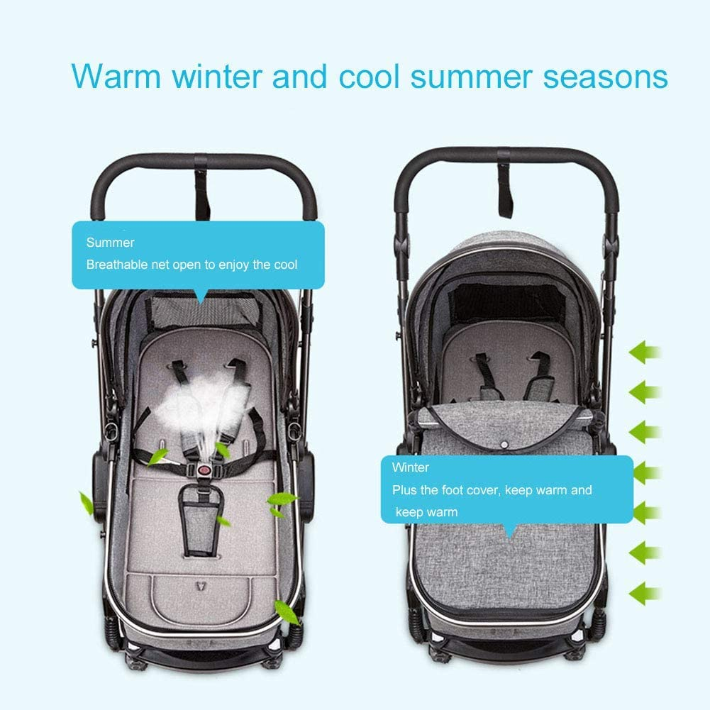 Multi-Function Two-Way High Landscape Sitting and Lying Folding Portable Shockproof Travel Baby Carriage,Green MOIMK Pushchairs 3-in-1 Stroller