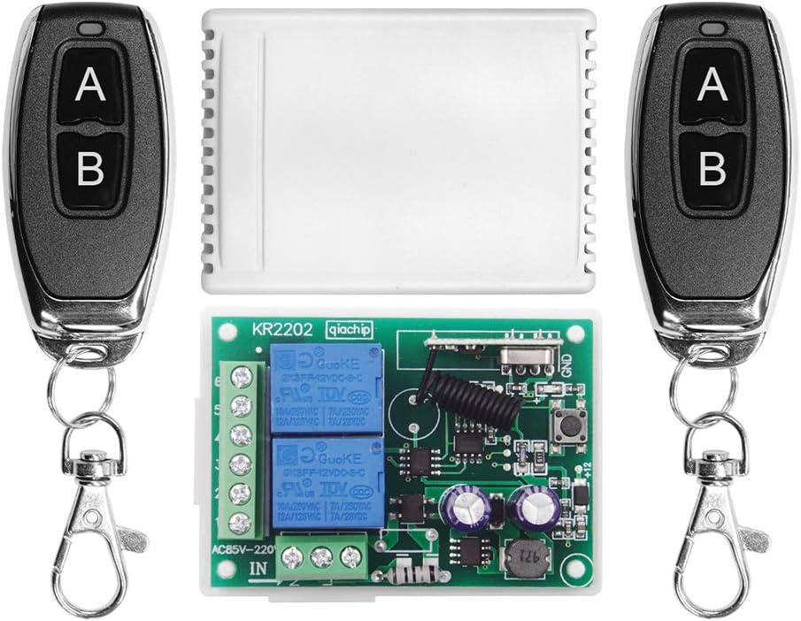 QIACHIP 220V AC 2 Canales Inalambrico Control Remoto Interruptore Universal, RF 433mhz Receptor con Mando 2CH Módulo de Relé y Transmisor para Puerta Garaje, Ligero, Uso Doméstico