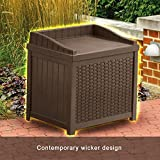 Resin Wicker Storage Cabinet 22 Gallon Java Resin Wicker Small Storage Seat Deck Box Attractive Form with Practical Function in a Single Compact Storage Unit Contemporary Wicker Design Long-Lasting