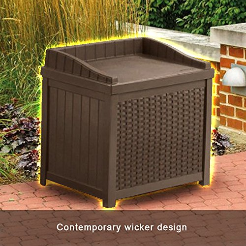 Merveilleux Resin Wicker Storage Cabinet 22 Gallon Java Resin Wicker Small Storage Seat  Deck Box Attractive Form
