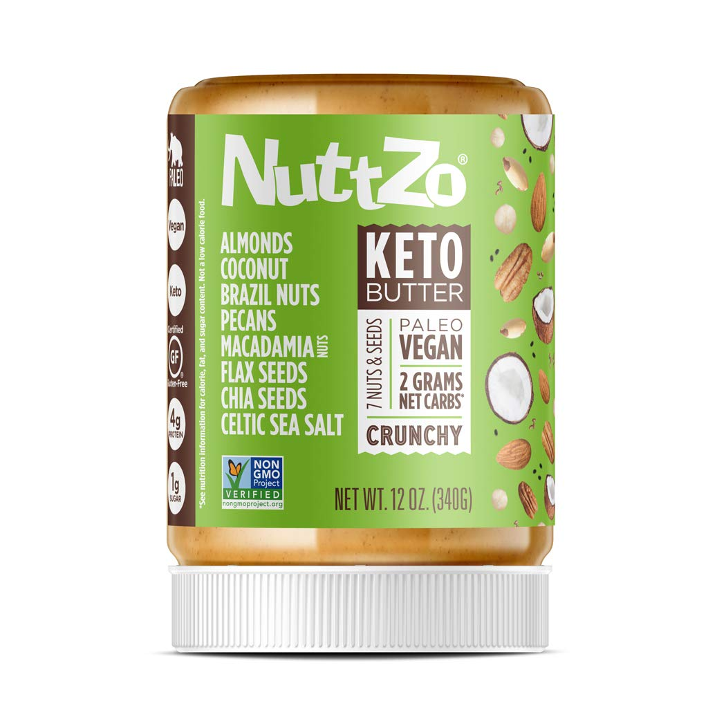 NuttZo KETO Nut Butter Crunchy, 12 Ounce, 7 mixed nuts & seeds, fat bomb, high fat, low carb, paleo, whole30, vegan