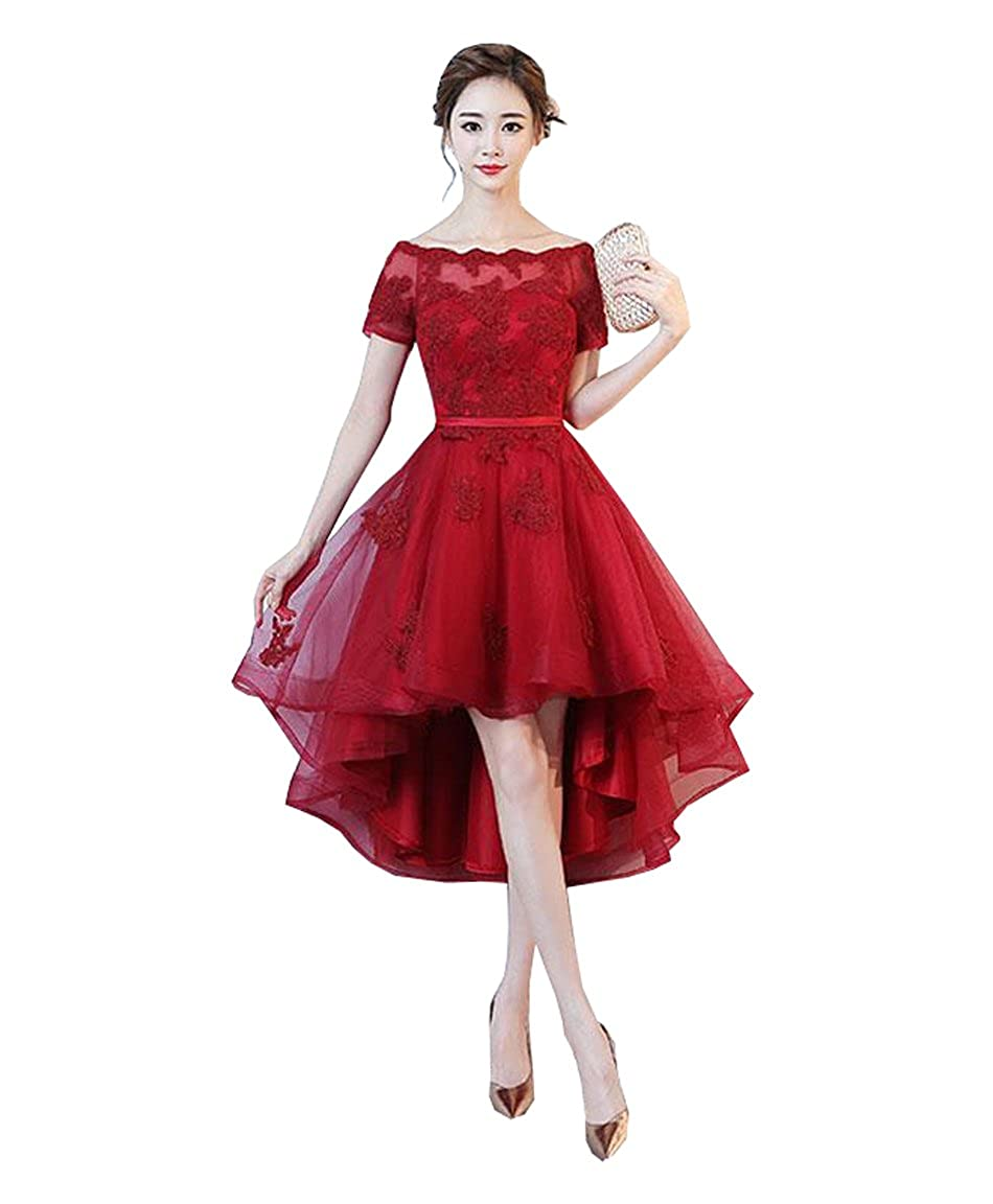 Red QiJunGe Elegant High Low Homecoming Dress Lace Appliques Short Party Prom Gowns