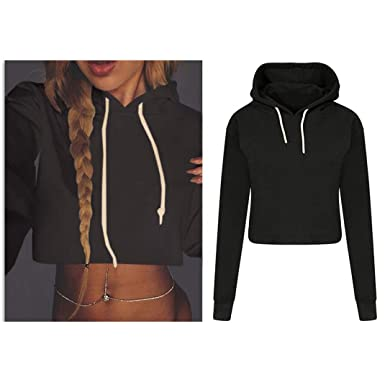 181d1e30b1e Amazon.com: Kimloog Women Midriff Sweatshirt, Kimooog Long Sleeve Solid  Hoodie Loose Casual Crop Drawstring Pullover Tops Blouse: Clothing