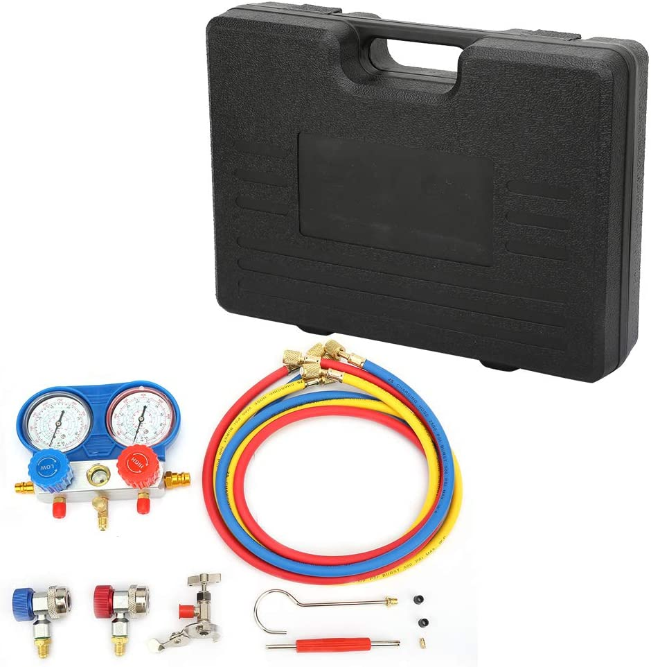 Manifold Gauge Refrigeration Tool Air Conditioning AC Diagnostic A//C Manifold Gauge Tool Set Refrigeration R-134A with Black Toolbox