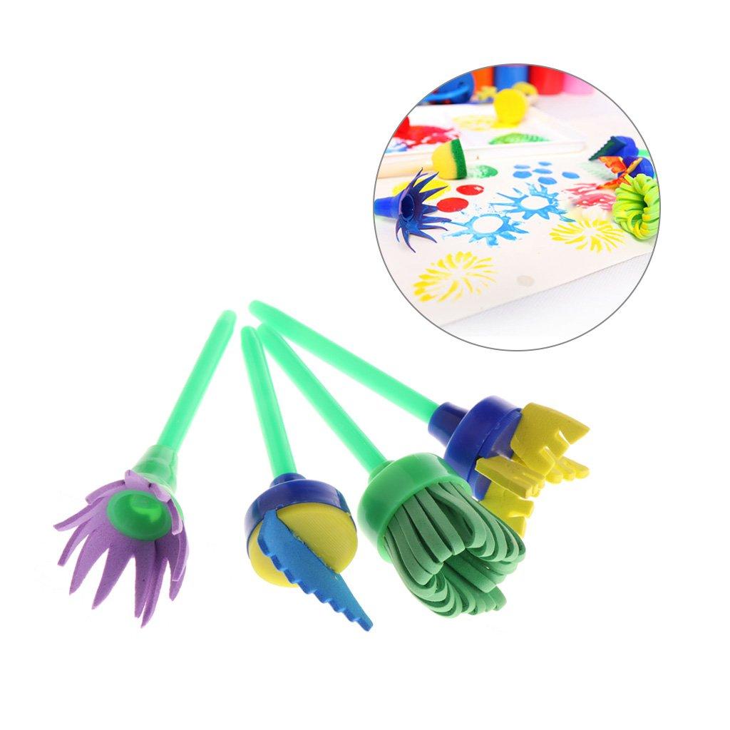 Jneor Creative DIY 4/pcs Peinture Brosse Fleur Tampon enfants DIY Graffiti puzzle Jouets outils de dessin