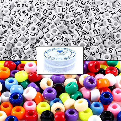 Multi Color Beads (Amaney 1000pcs Beads Kit, Letter Beads, Large Hole Pony Beads Multi Color, White Acrylic Alphabet Beads for Name Bracelets, Jewelry Making and Crafts with 2 Roll Elastic String)