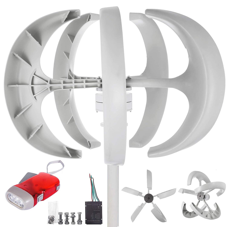 Moracle Aerogenerador 600W 12V Generador de Turbina Eólica Linterna Blanca Generador de Viento Vertical 5 hojas con Controlador