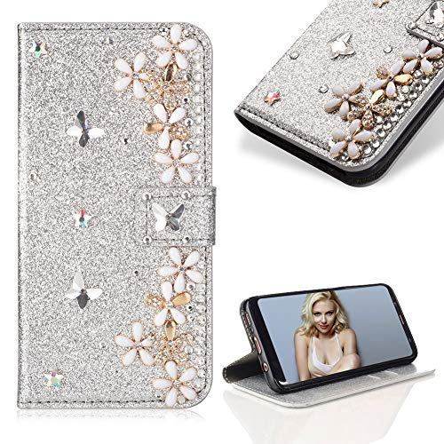 Case for Samsung Galaxy A8 2018,Cistor Luxury 3D Diamond Crystal Pearl Glitter Flower Butterfly Wallet Case for Samsung Galaxy A8 2018,PU Leather Stand Flip Case with Card Slot Magnetic Closure,Silver