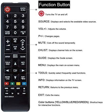 Mando a Distancia de Repuesto para televisor Samsung HD 3D LCD/LED TV AA59-00602A Compatible con Samsung UE22ES5000 UE26EH4000W UE32EH4003W UE32EH5000W UE40EH5000W PS43E450A1W UE46EH5000W PS51E450A1W: Amazon.es: Electrónica