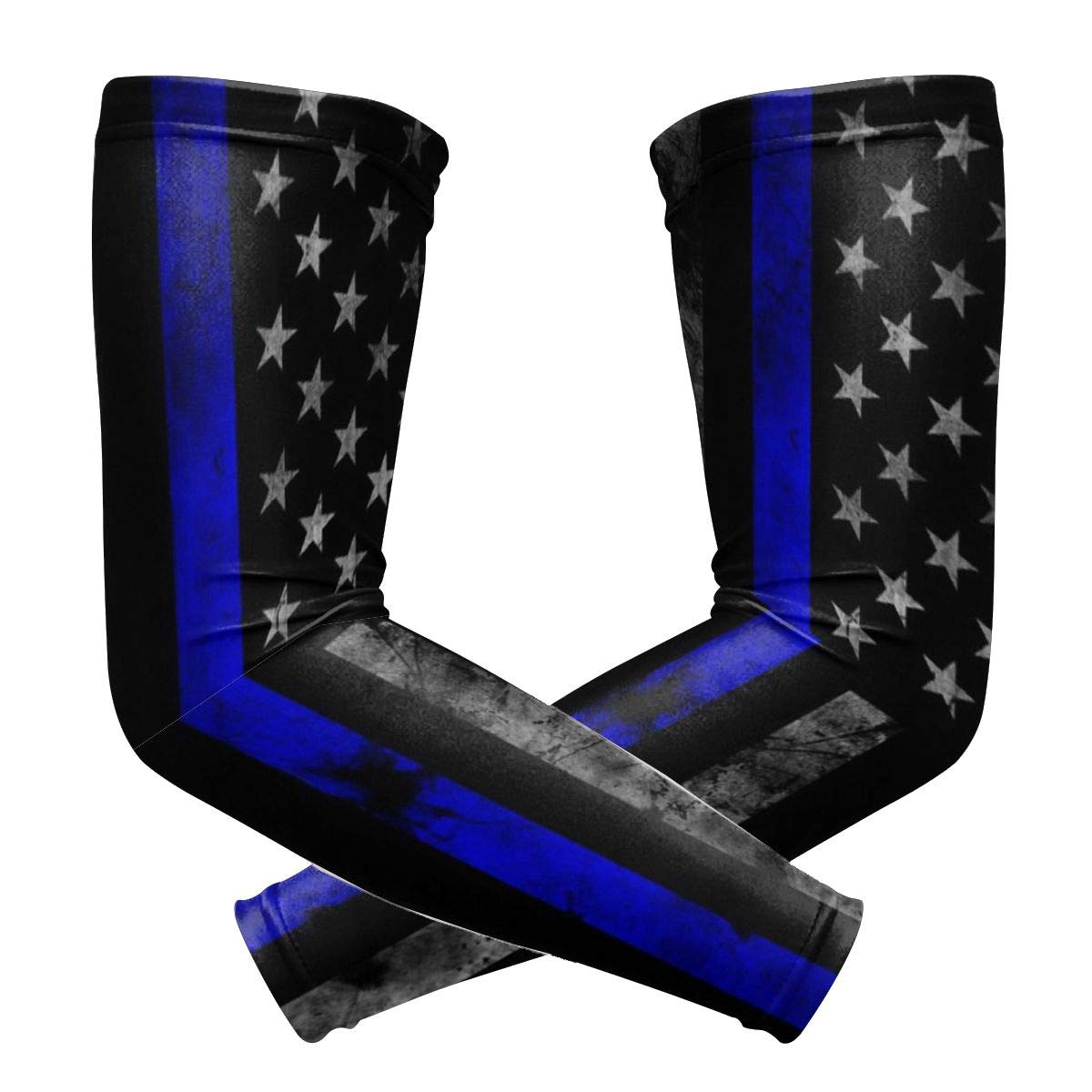 Basketball BLACK SP Thin Blue Line American Flag Unisex Sports Compression Arm Sleeves UV Protection Cooling Or Warmer Arm Sleeves for Cycling Running