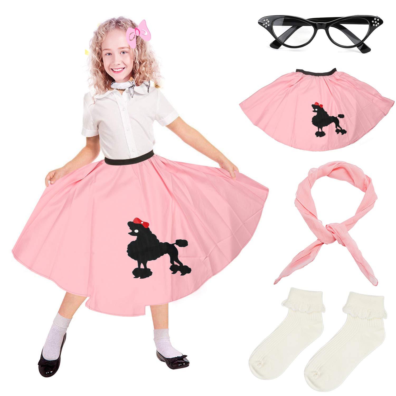 Beelittle 4 Pieces 50s Girls Costume Accessories Set - Vintage Poodle Skirt, Chiffon Scarf, Cat Eye Glasses, Bobby Socks (E-Pink)