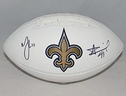 2392b5b9 Image Unavailable. Image not available for. Color: Alvin Kamara & Marshon  Lattimore Signed New Orleans Saints Logo Football - JSA Certified -  Autographed