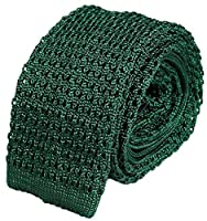 Dark Green Solid Superior Silk Jacquard Knitted Tie by 40 Colori