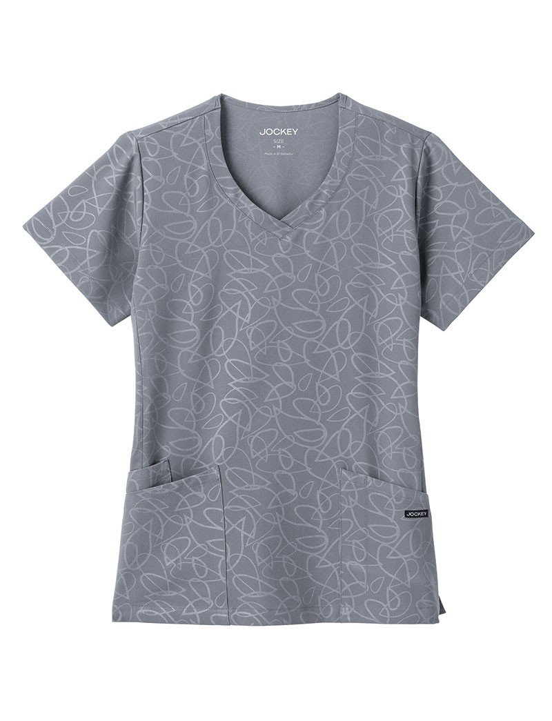 Jockey Modern Fit Women's 2337 Solid Illusion Embossed V-Neck Top- Pewter- Small