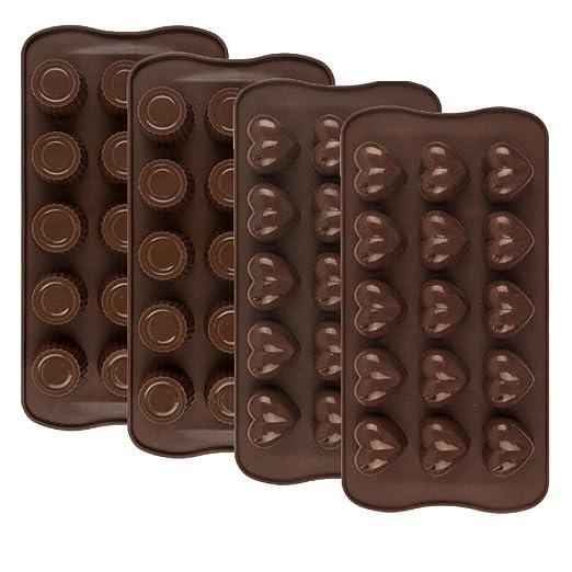 4 moldes de silicona para chocolate y dulces, 15 cavidades, moldes ...