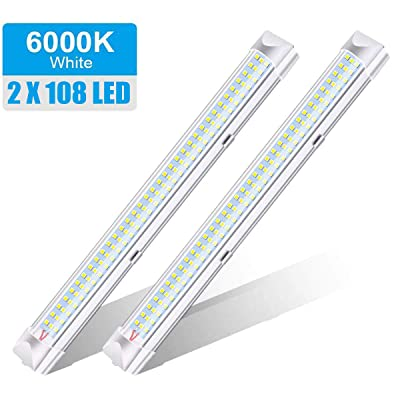 ROYFACC 108 LED Interior Light Bar Lamp Universal Strip Lighting 12V 6W for Car Camper Van Bus Caravan Boat Motorhome Kitchen Bathroom with ON/Off Switch (2 Pack): Automotive