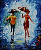 ***SUMMER SALE*** JUMPING IN THE RAIN is a One-of-a-Kind, ORIGINAL OIL PAINTING ON CANVAS by Leonid AFREMOV Picture