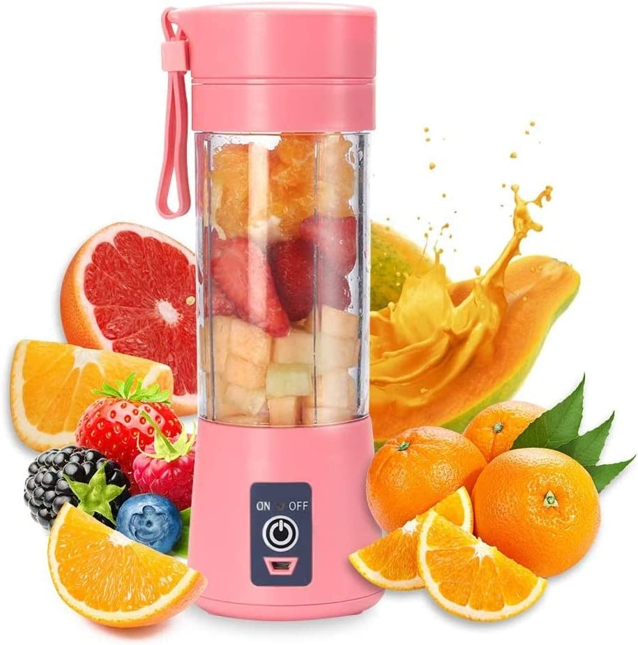 HANBO 380ml Electric Portable Juicer Blender Cup, Household Fruit Mixer with Six Blades in 3D, USB Rechargeable Juice Blender Magnetic Secure Switch Electric Fruit Mixer (Pink)