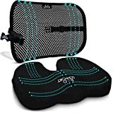 Back Support Seat Cushion Set - Memory Foam With Orthopedic Design To Relieve Coccyx, Sciatica And Tailbone Pain From Prolonged Sitting In The Car, Office Or Kitchen Chairs - Mesh Breathable Material