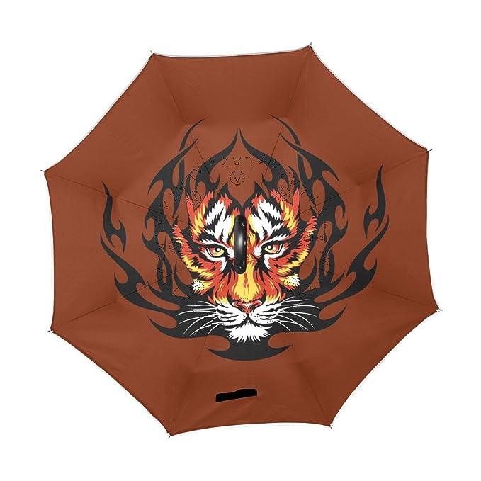 BENNIGIRY Tiger - Paraguas invertido para Coche, Resistente al Viento y a los Rayos UV, Plegable, con Mango en Forma de C: Amazon.es: Deportes y aire libre