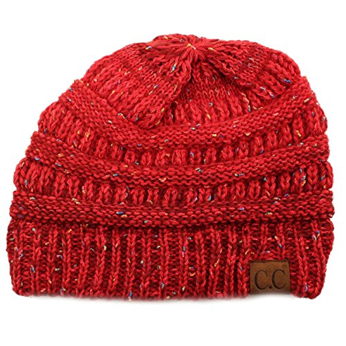 - Confetti Ombre Warm Chunky Soft Stretch Knit Slouch Beanie Skull Cap Hat Red