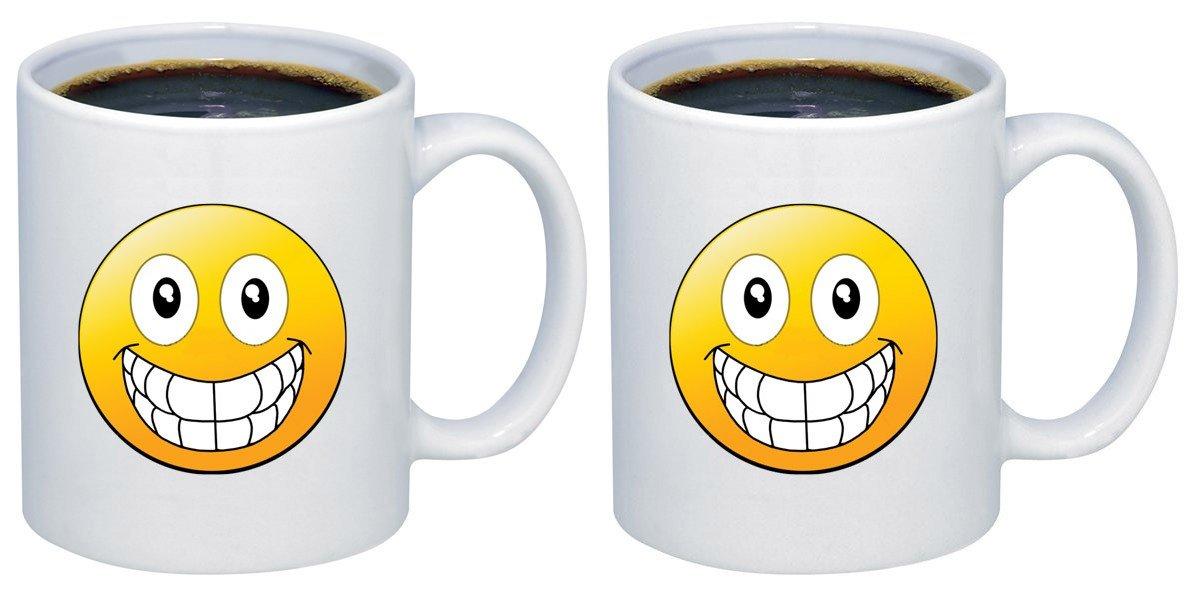 P & B絵文字Big Smileセラミックコーヒーマグカップm260 11oz. (set of 2) ホワイト B077C6PJGS   11oz. (set of 2)