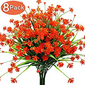 Artificial Fake Flowers, 8 Bundles Outdoor UV Resistant Greenery Shrubs Plants for Indoor Home Wedding Decoration Bulk Table Kitchen Office Hanging Planter Spring Garden Décor 68