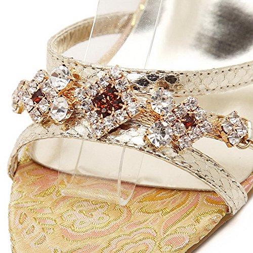 Allhqfashion Damesmengsel Materialen Gesp Open Teen Spikes Stilettos Solide Sandalen Goud