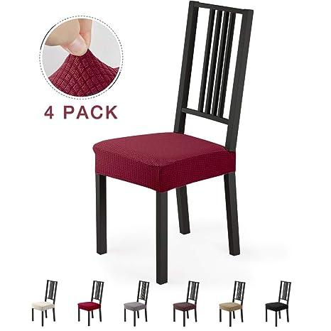 Fundas para sillas Pack de 4 Fundas sillas Comedor Fundas elásticas,Fundas de Asiento para Silla,Diseño Jacquard Cubiertas de la sillas,Extraíbles y ...