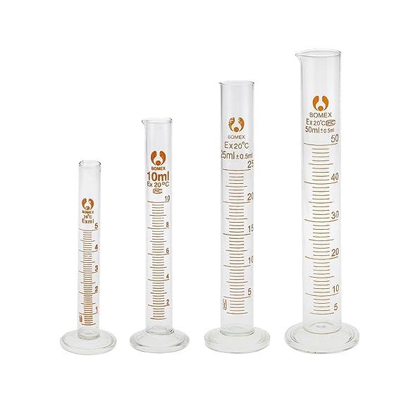 Compra Cilindro Probeta Graduada Medida Laboratorio Química Profesional Vidrio 50ml en Amazon.es
