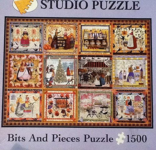 """Village Welcome"" Studio Bits and Pieces 1500 Piece Jigsaw Puzzle ~ Thanksgiving Holiday Country Theme ~ 2001 Carol Endrest"